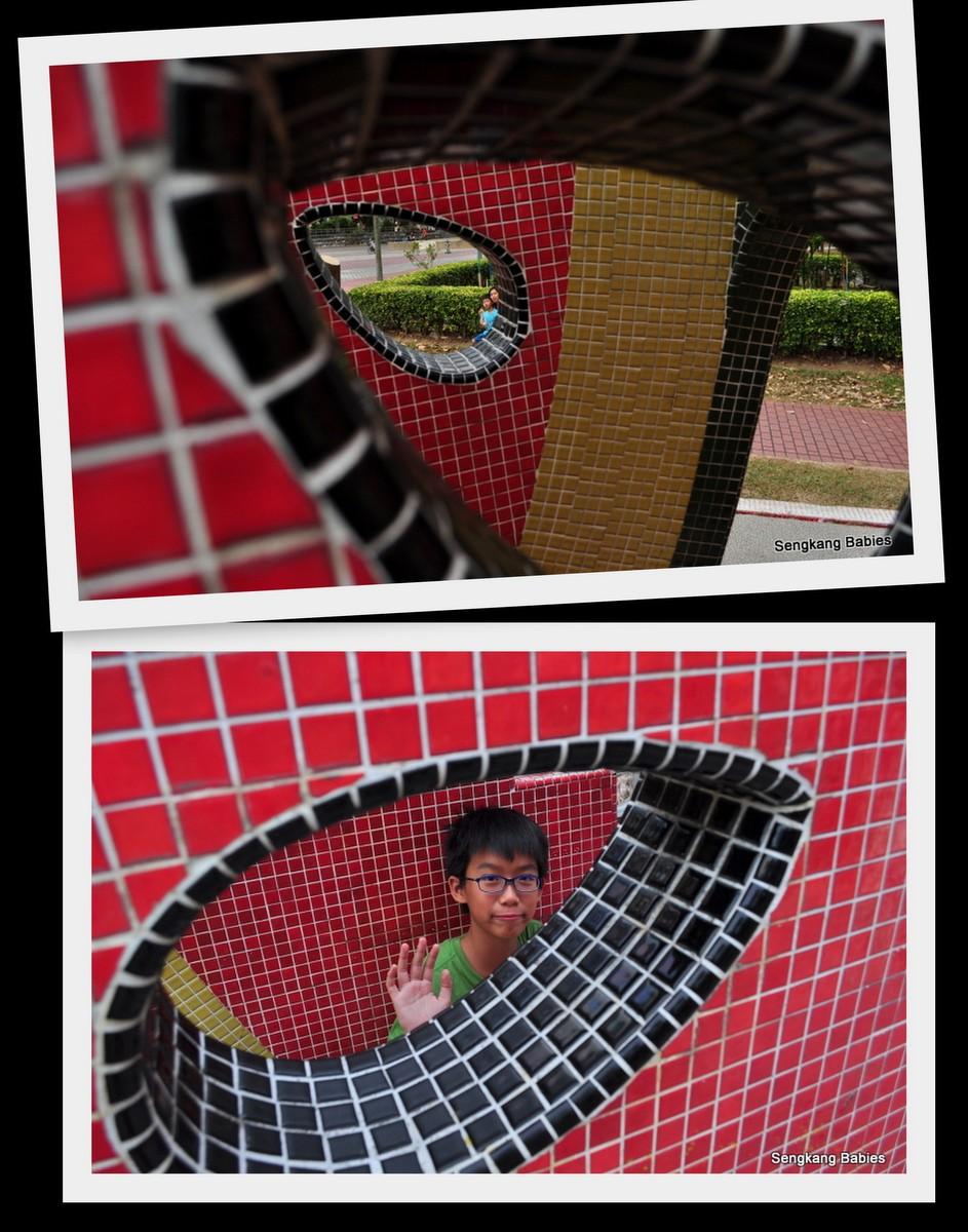 Colourful shiny mosaic, old mosaics on playgrounds