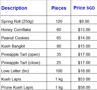 2015 CNY cookies pricing