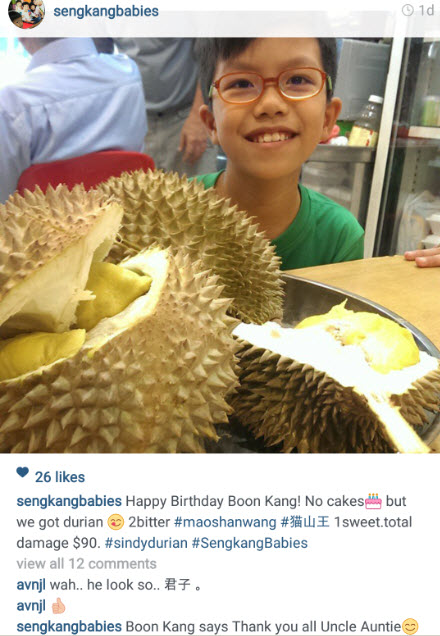 Sindy Durian for Boon Kang Birthday