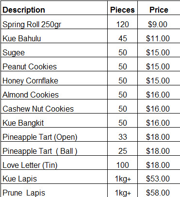 cny cookies 2016 pricelist