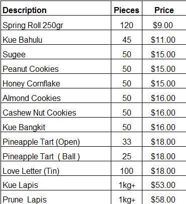 cny cookies 2016 pricelist