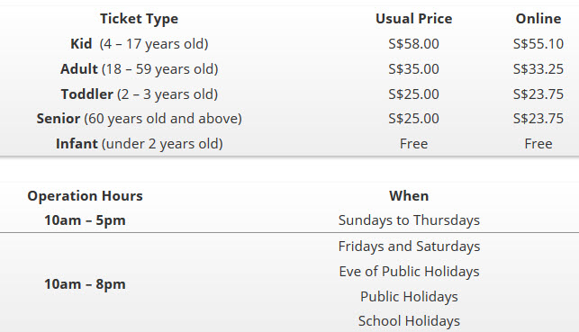 kidzania singapore ticket prices