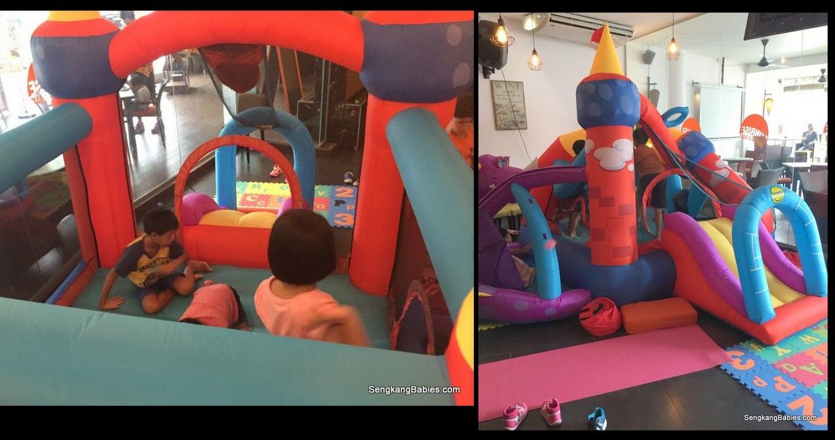 restaurant with bouncing castle