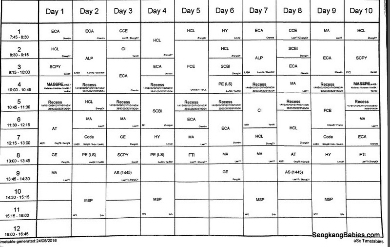 scanner timetable