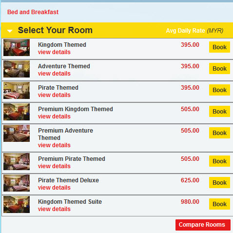 Legoland Hotel room comparison