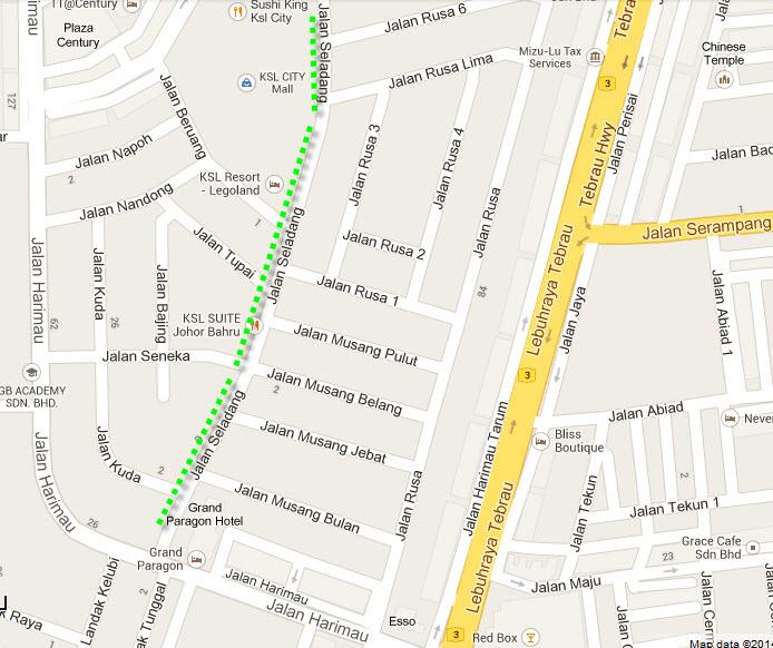 Map of Johor Bahru Pasar Malam, distance of KSL Pasar Malam