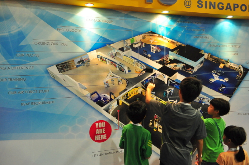 Exhibition booth RSAF45; Map of RSAF at Singapore Air show