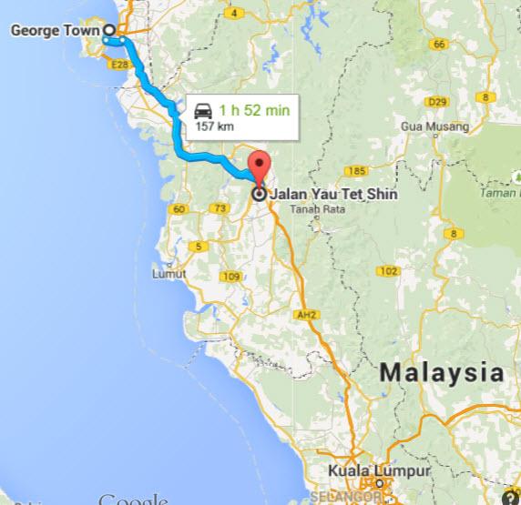 Penang Ipoh 150km