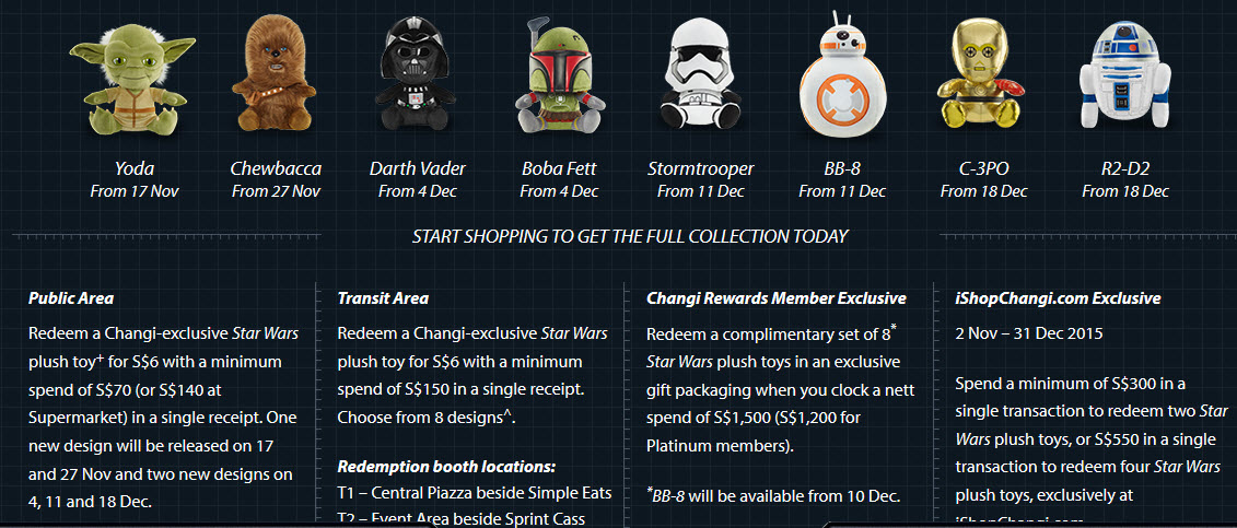 Changi Airport Starwars plush toys