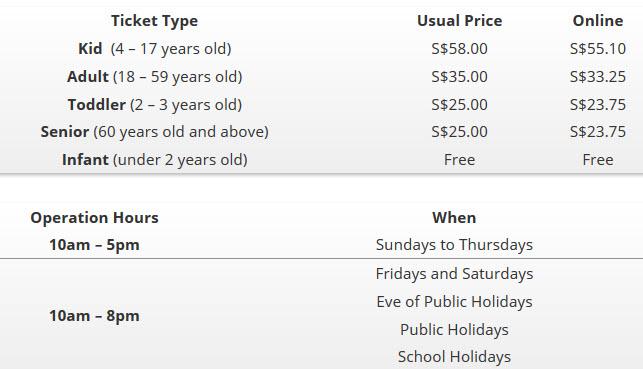 kidzania singapore ticket prices