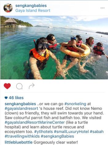 snorkeling Gaya Island house reef